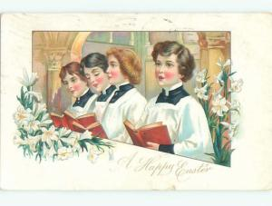 Divided-Back CHILDREN AT EASTER SCENE Great Postcard AA1718