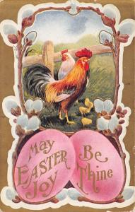 Easter~Rooster Hen Chicks in Pussy Willow Portal~Big Pink Eggs~Gold Back Emboss