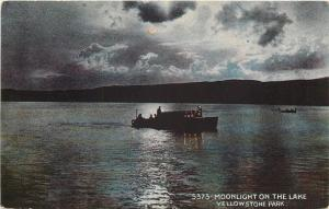 Yellowstone National Park WY~Moonlight on Lake~Captain Silhouette on Boat~1912