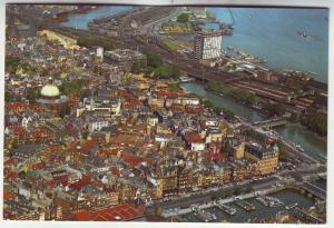 P593 JLs vintage amsterdam birds eye view damrak lutheran church and harbour