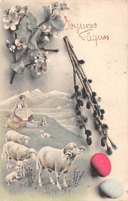 Joyeuses Paques, Easter, sheeps, couple, mistletoe, eggs, souvenir 1908