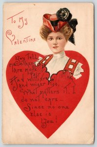 HBG Valentine~Lovely Victorian Lady Wears Heart~Red Black Hat~Embossed~L&E 1911