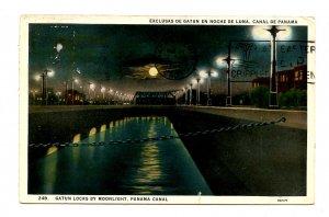 Panama - Canal Zone. Gatun Locks by Moonlight