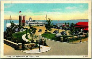 St. Ignace, Michigan Postcard State Auto Ferry Dock Steamer View Linen c1940s