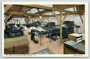 Techny Illinois~St Mary's Mission House~Monk in the Press Room~Workers~1920s PC
