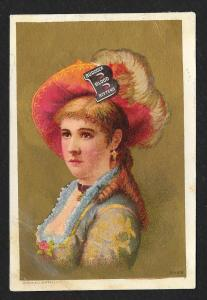 VICTORIAN TRADE CARD Burdock Blood Bitters Lady w/Fancy Hat