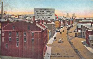 Portland ME Daisy Brand Specialties Commercial Street Railroad Train Postcard