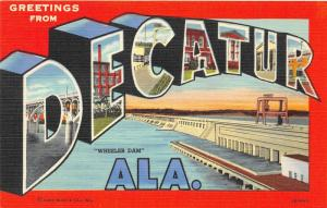 F15/ Decatur Alabama Postcard Linen Large Letter Greetings Teich