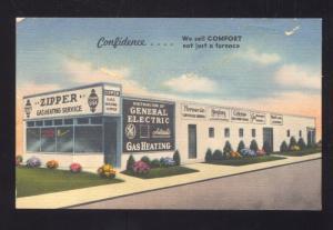 LOUISVILLE KENTUCKY ZIPPER GAS HEATING CO. STORE LINEN ADVERTISING POSTCARD KY