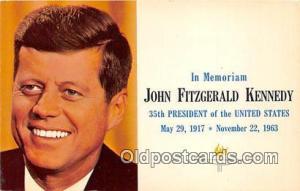 May 29, 1917-Nov 22, 1963 Postcard Memoriam John Fitzgerald Kennedy