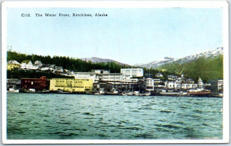 Ketchikan, Alaska Postcard The Water Front City View HHT c1920s Unused
