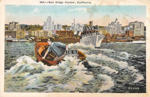 San Diego California Harbor View Man in Small Boat Vintage Postcard JD933962
