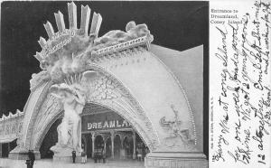 Amusement Entrance Dreamland Coney Island New York 1905 Postcard 3251