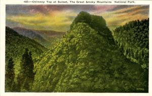 NC & TN - Great Smoky Mountains National Park. Chimney Top at Sunset