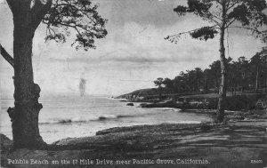 PEBBLE BEACH 17 Mile Drive near Pacific Grove, CA 1937 Vintage Postcard