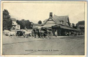 Wooster, Ohio Postcard Pennsylvania RR Station Train Depot Street View 1910
