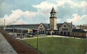 Union Station, Bangor, Maine, ME, USA Railroad Train Depot Unused light corne...