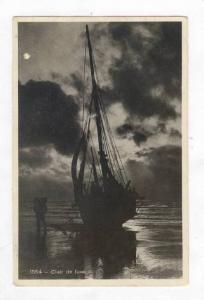 RP  Fishing boat on beach, Clair de lune, Belgium, PU-1934