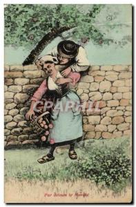 Old Postcard Above Marche Illustrator Peasants