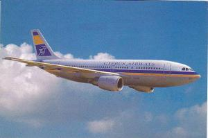 Cyprus Airways Airbus A310 in flight, 60-80s