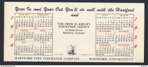 RICHFORD VERMONT USA Hartford Fire Insurance Company 1954 year calendar BLOTTER