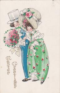Easter Greeting, Couple walking together, Bonnet, Flower bouquet, 00-10s