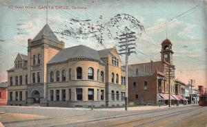 Court House, Santa Cruz, California, Early  Postcard, Used