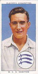 Player Vintage Cigarette Card Cricketers 1938 No 4 D C S Compton Middlesex & ...