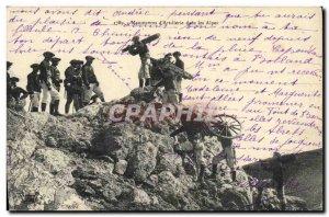 Old Postcard Militaria Alpine Hunters Maneuvers d & # 39artillerie in the Alps