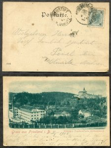 736 - AUSTRIA Czechia 1900 BAHNPOST on Gruss aus Friedland Picture Postcard. RPO