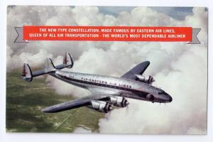Eastern Airlines Constellation Aircraft Airplane Vintage Aviation Postcard