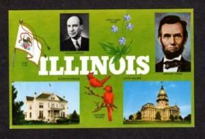 IL State Flag ILLINOIS Lincoln Adlai Stevenson Postcard