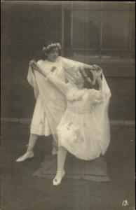 Little Girls in Fairy Ballet Costumes Dancing c1915 Real Photo Postcard