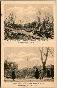 1917 New Castle, Indiana TORNADO Disaster Postcard - Two Damage Scenes / Unused