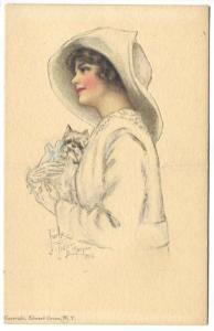 Pearl Tidler Le Munyon American Girl No. 31 Scottie Dog Die Cut Postcard