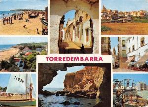 Spain Costa Dorada Tarragona, Torredembarra, Playa Beach Boat Panorama