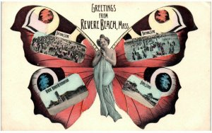 Revere Beach MA photo manipulation anthropomorphic butterfly naked beauty c1910