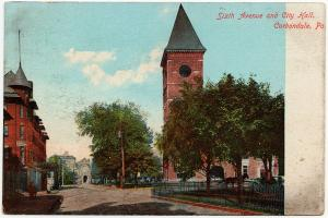 1901-1907 Carbondale PA Sixth 6th Avenue & City Hall Lackawanna Co UDB Postcard