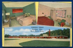 Virginia Court Meridian Mississippi ms linen postcard