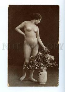 128955 NUDE Woman BELLE w/ Flowers in Vase Vintage PHOTO PC