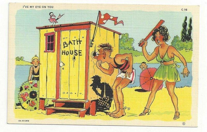 COMIC: Peeping Tom, Lake side Bath House, Lady with paddle, I've my eye on you