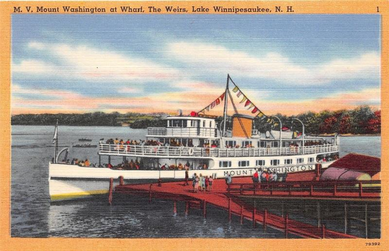 Lake Winnipesaukee New Hampshire~MV Mount Washington Ship @ Wharf~The Weirs~'40s