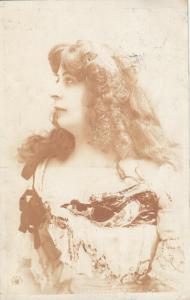 Glamour elegant woman portrait 1905 photo postcard costume fashion hairstyle
