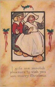 Christmas Dutch Boy & Girl Dancing 1914