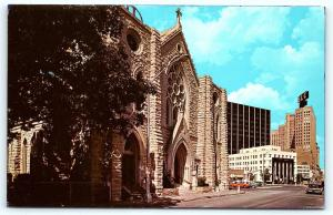 Postcard TX Fort Worth Saint Patrick's Co-Cathedral Vintage Cars B05