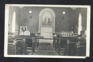 RPPC BAY MISSOURI BAPTIST CHURCH INTERIOR VINTAGE REAL PHOTO POSTCARD MO.