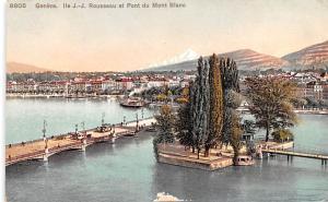 Switzerland Old Vintage Antique Post Card Geneve, Rousseau et Pont du Mont Bl...