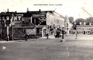 Galva, Illinois - Railroad tracks downtown on Exchange Street - c1940