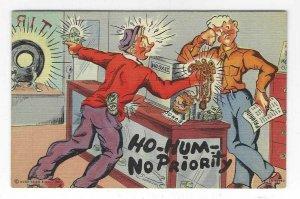 1940's Ho-Hum No Priority Comic Cartoon Linen Postcard