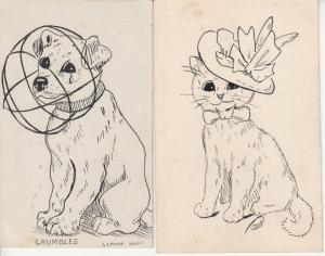 S. S. Mackie artist signed drawn grumbles dog & cat c 1915 postcards x 2